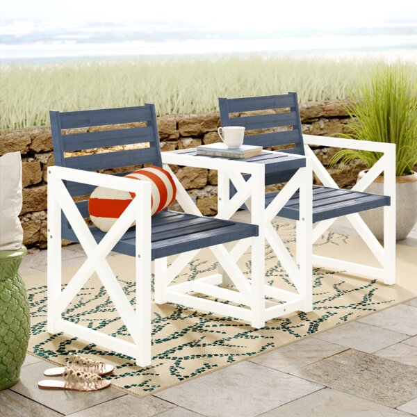 Denslowe Wooden Tete-a-Tete Bench by Rosecliff Heights Rosecliff Heights