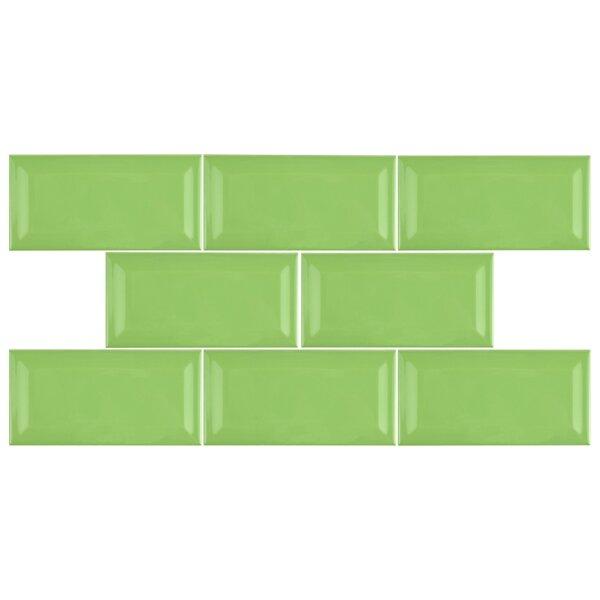 Prospect 3 x 6 Beveled Ceramic Subway Tile in Kiwi Green by EliteTile