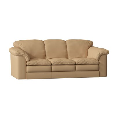 "Oregon Standard 92"""" Pillow Top Arm Sofa Omnia Leather Body Fabric: Softsations Swiss Coffee, Seat Cushion Fill: Down Cushion Fill -  Oregon 3 Seat SofaSoftsations Swiss CoffeeDown"