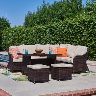 Stalter 5 Piece Rattan Sectional Seating Group with Cushions By Winston Porter