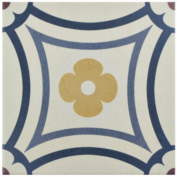 Grotta 7.88 x 7.88 Porcelain Field Tile in White/Blue by EliteTile