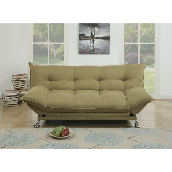 Maas Velvet Fabric Cushion Adjustable Convertible Sofa by Latitude Run