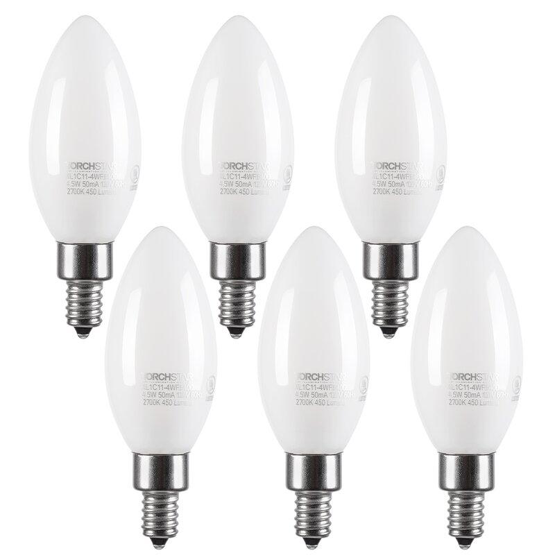 Dimmable LED Light Bulbs Candelabra Base E26 Flame Tip 2700K Warm White 60W  6P