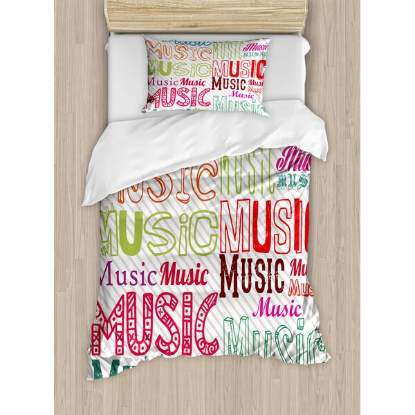 Modern Music Typography in Various Styles Rhythm Acoustic Harmony Melody Funky Illustration Duvet Set by Ambesonne