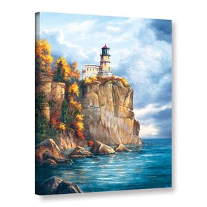 Split Rock Lighthouse Painting Print on Wrapped Canvas by Breakwater Bay