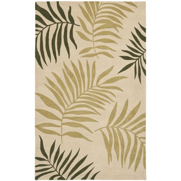 Gatewood Beige Leaves Area Rug by Beachcrest Home