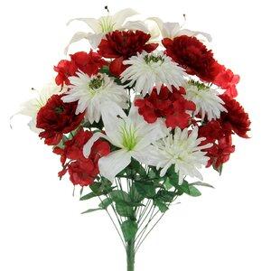 24 Stems Faux Full Blooming Ranunculus, Lily, Hydrangea Flower Bush Mixed Floral Arrangement