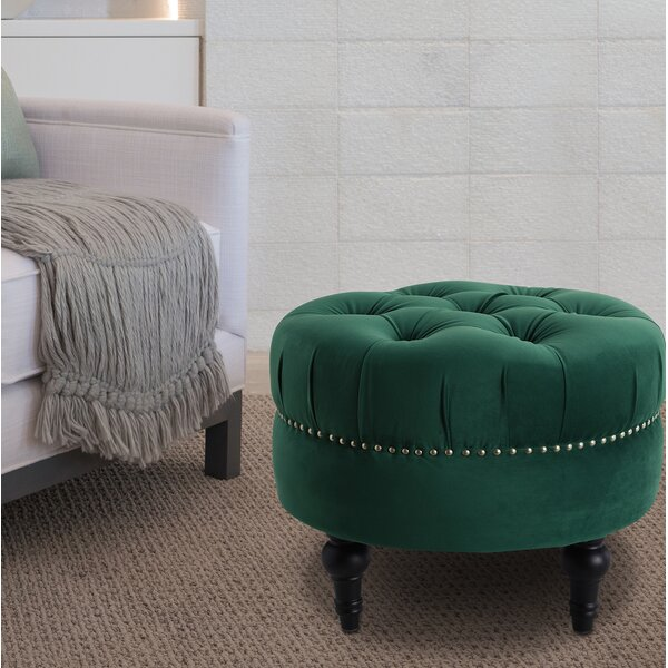 Holmquist Tufted Round Standard Ottoman by Alcott Hill
