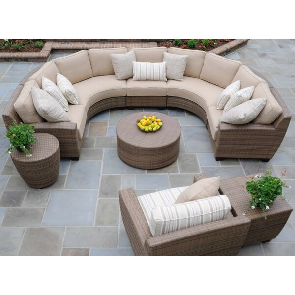 Saddleback 4 Pieces Sectional Set with Cushions by Woodard