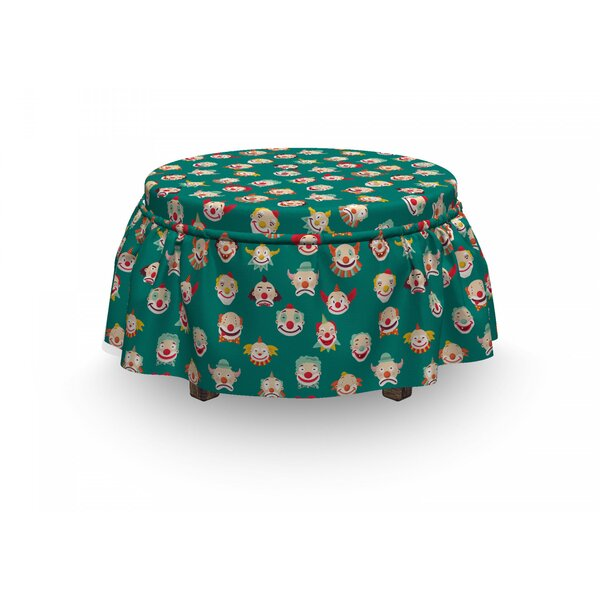 Sad And Happy Clown Faces Ottoman Slipcover (Set Of 2) By East Urban Home