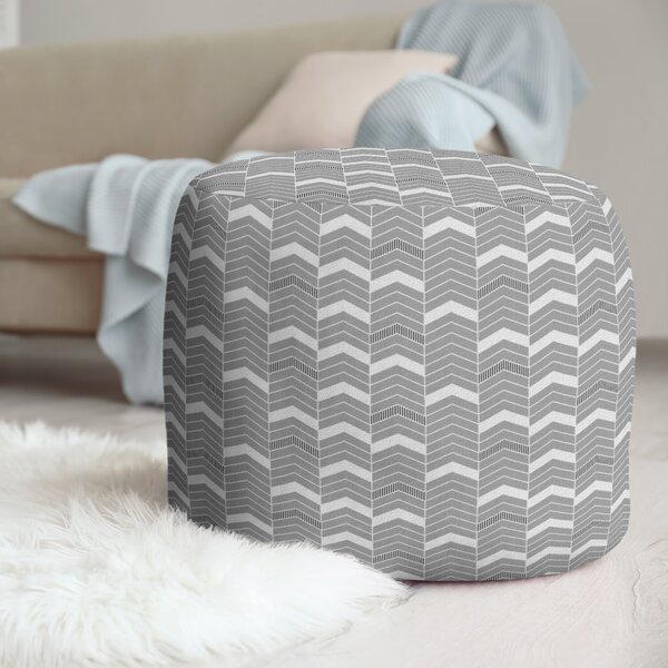 Two Color Lined Chevrons Pouf by East Urban Home