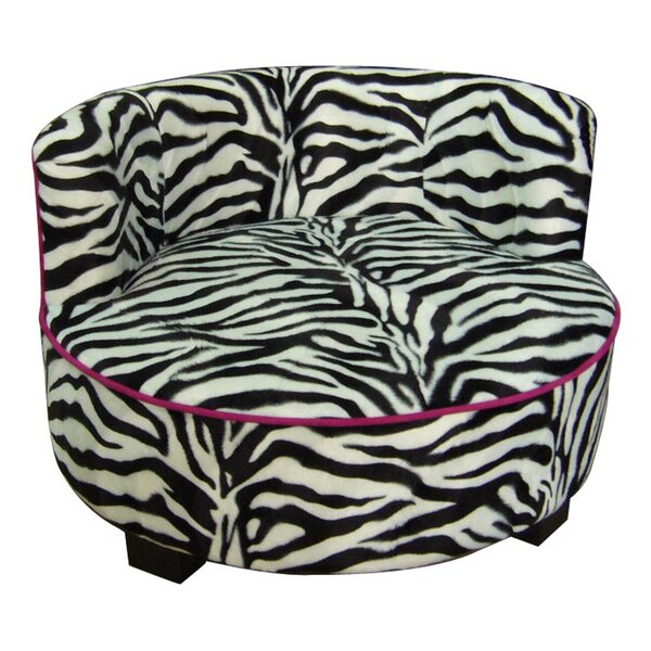 Upholstered Zebra Print Round Dog Bed by ORE Furniture