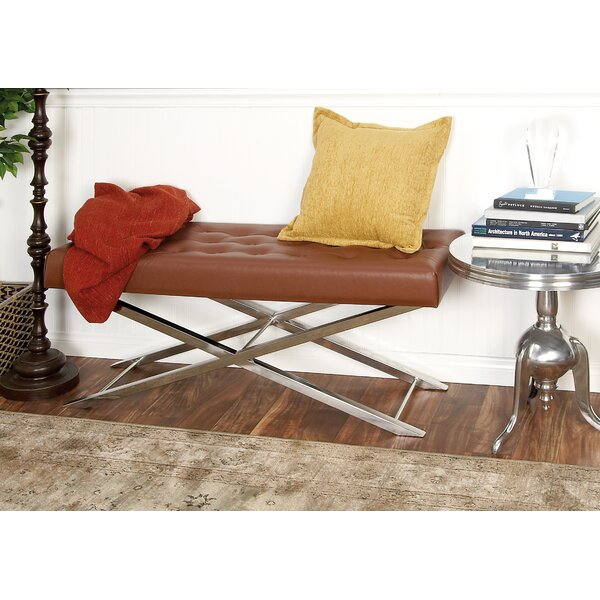 Metal and Leather Bench by Cole & Grey