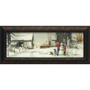 'Snowmen from Heaven' Framed Painting Print by Charlton Home