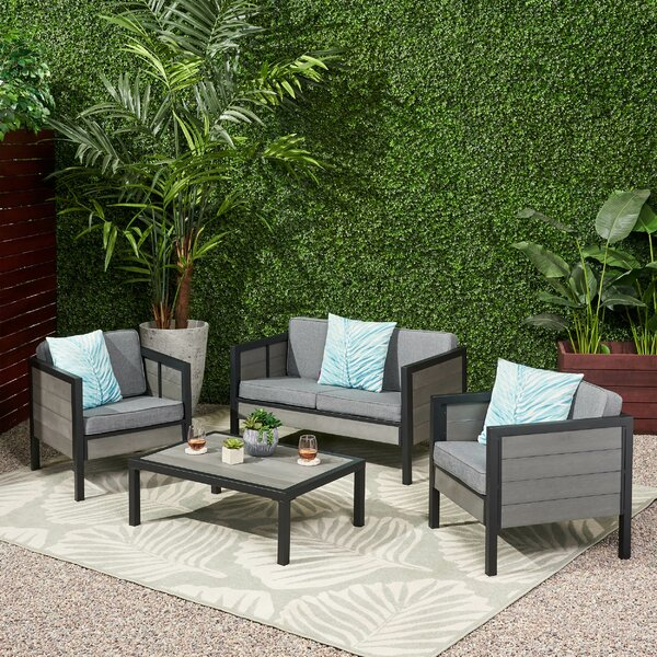 4 Piece Sofa Seating Group with Cushions by Wrought Studio