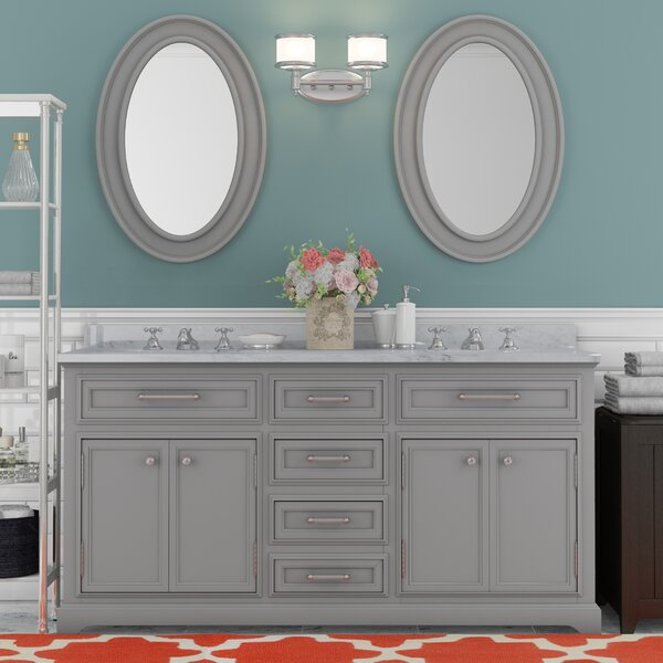 Bergin 60 Double Sink Bathroom Vanity Set with Mirror and Faucets by Three Posts