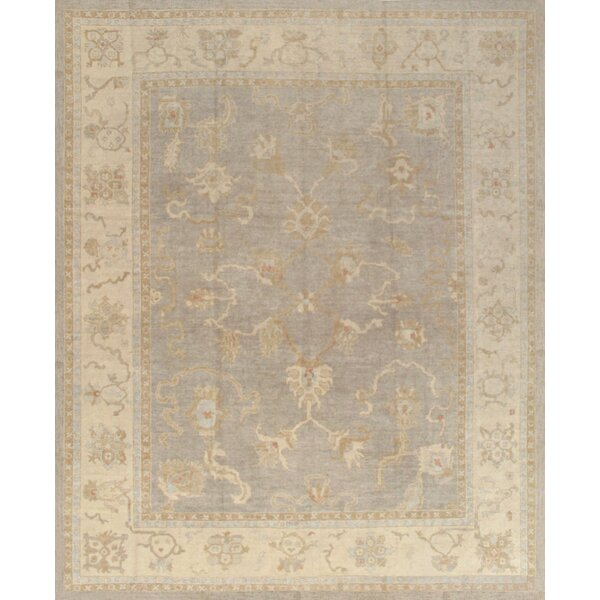 Oushak Hand-Knotted Grey Area Rug by Pasargad
