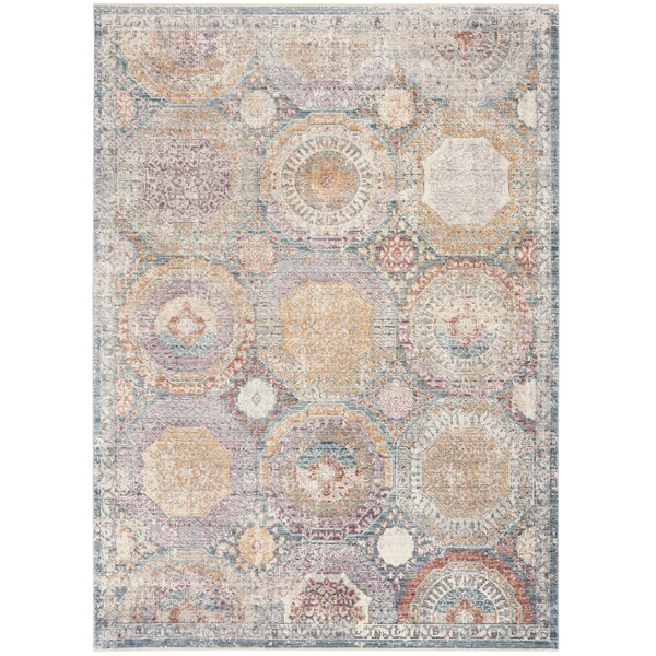 Soren Power Loomed Blue/Beige Area Rug by Bungalow Rose