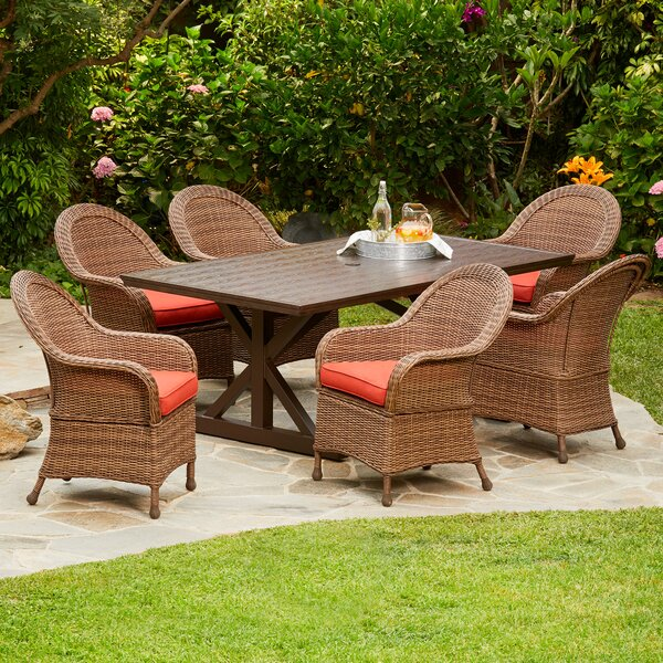 Acree Hacienda Heights 7 Piece Dining Set with Cushions by One Allium Way