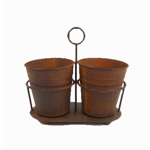 Vintage 2-Piece Tin Pot Planter Set by Craft Outlet