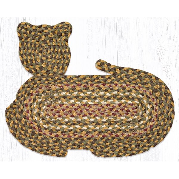 Olive/Burgundy/Gray Cat Shaped Rug by Earth Rugs