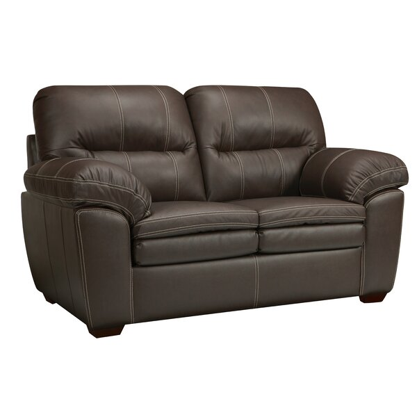 Review Woodberry Leather Loveseat