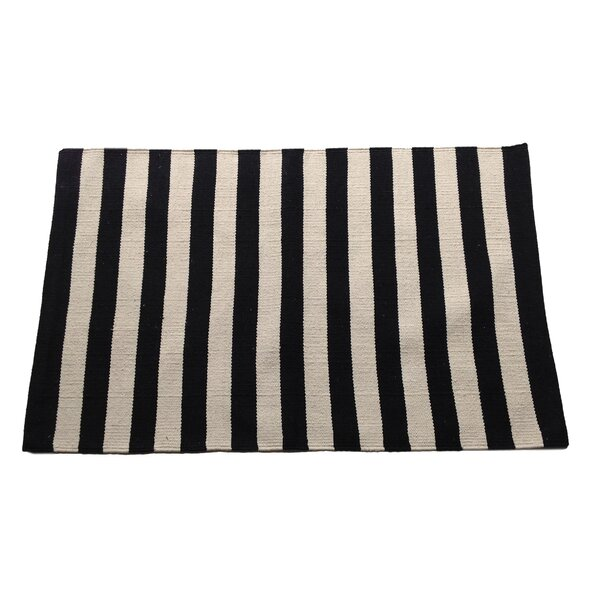 Narrow Black/Beige Stripe Area Rug by Artim Home Textile