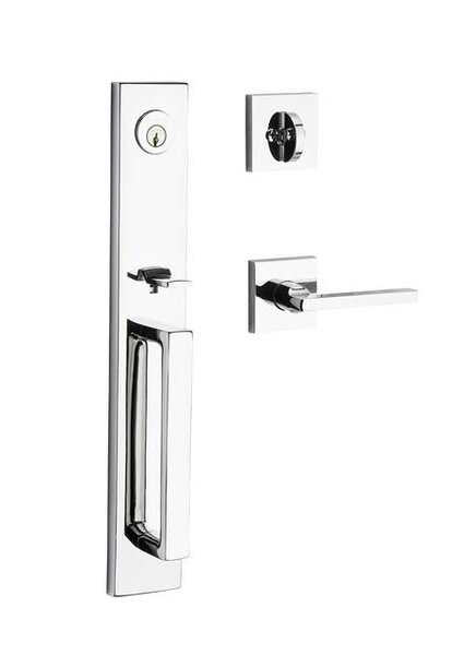 Santa Cruz Single Cylinder Handleset Cruz Square Door Lever and Contemporary Square Rose by Baldwin