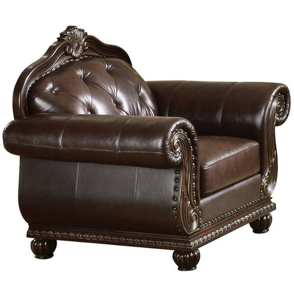 Struck Button Tufted Faux Leather Upholstered Rolled Arms Armchair by Astoria Grand
