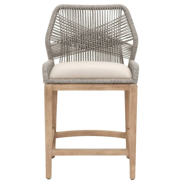 Iain Comfortable Woven Loom 26 Patio Bar Stool by Bungalow Rose