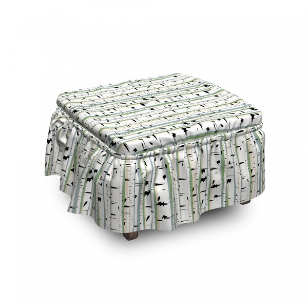 Trunks Of Birches Ottoman Slipcover (Set Of 2) By East Urban Home
