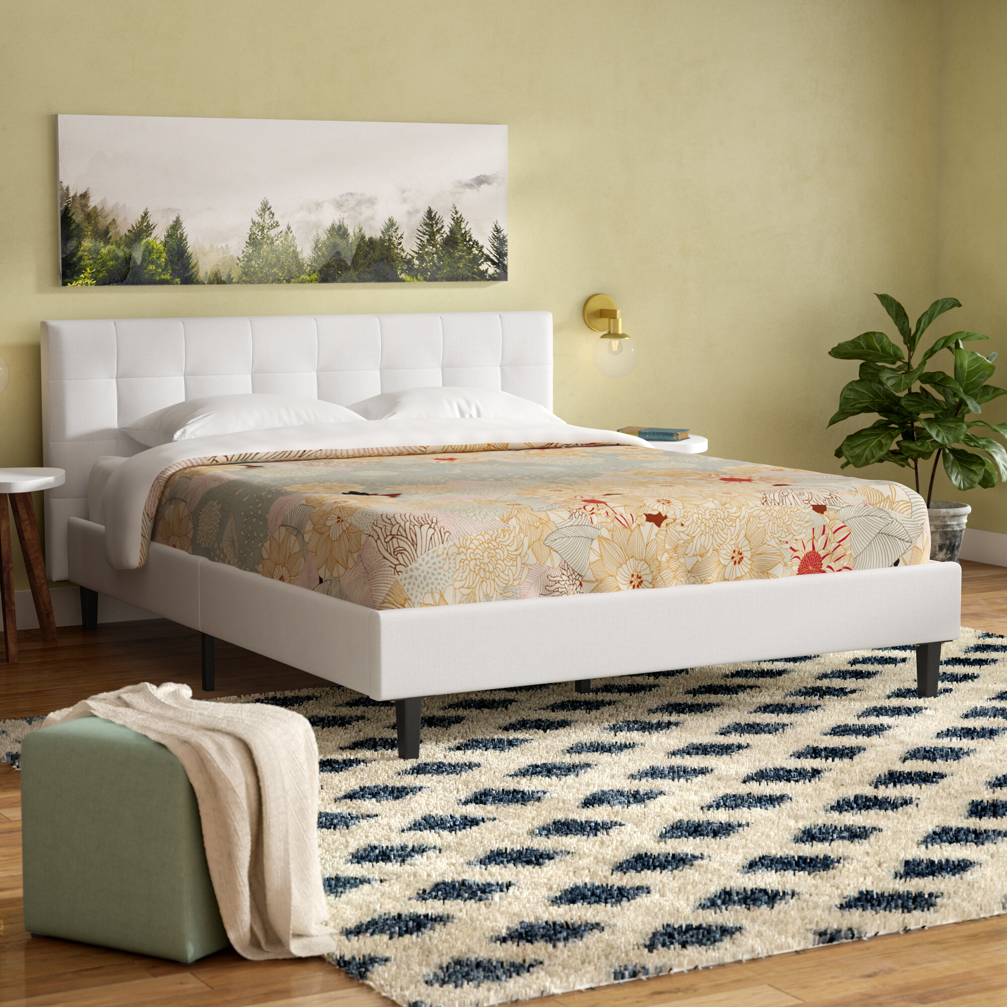 brown faux bed leather complete roggan in by platform primo