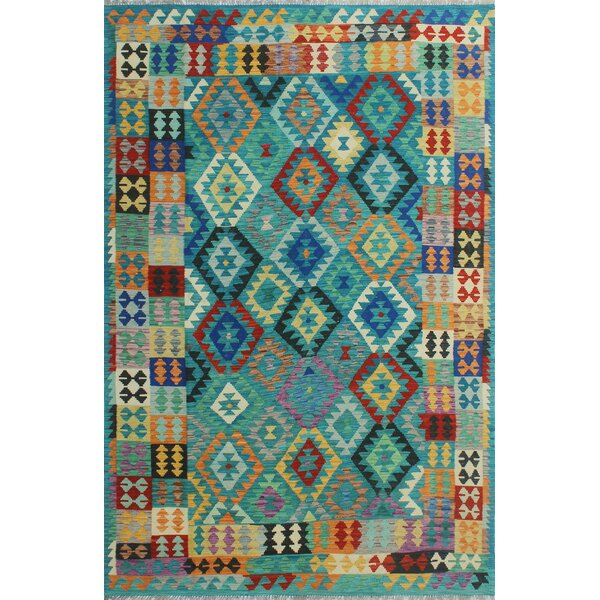 Corda Hand-Knotted Wool Blue Area Rug by Bungalow Rose