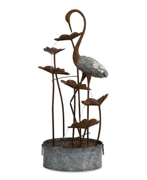 Crane and Lily Pad Metal Fountain by Melrose International