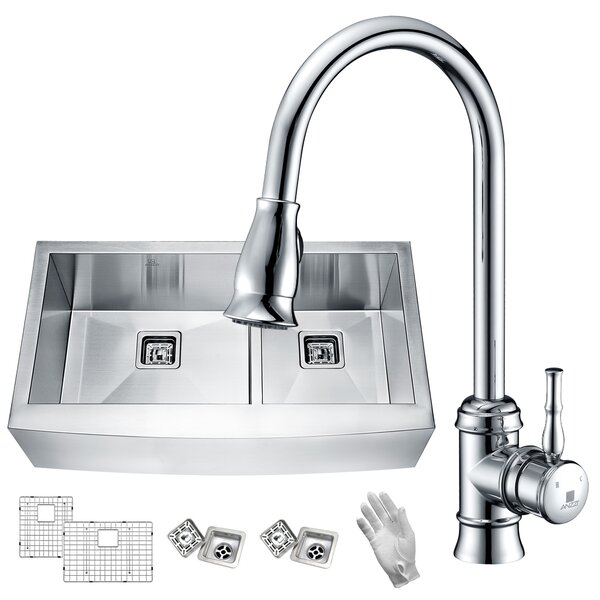 Elysian 36 x 21 Double Basin Farmhouse Kitchen Sink with Faucet by ANZZI