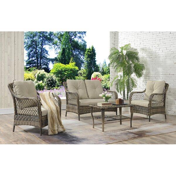 Kaiya 4 Piece Rattan Sofa Seating Group With Cushions By Ophelia & Co.