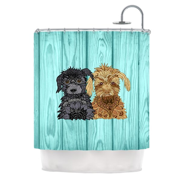 Daisy and Gatsby by Art Love Passion Abstract Puppies Shower Curtain by East Urban Home