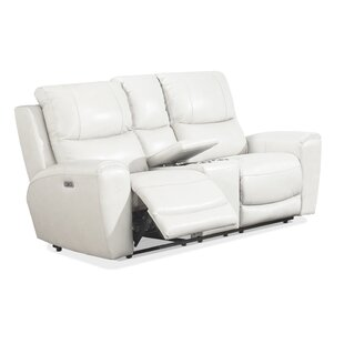 Palmateer Leather Reclining Loveseat