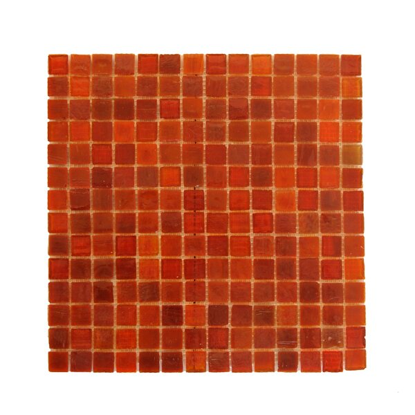 LEED Amber 0.75 x 0.75 Glass Mosaic Tile in Snappy Red by Abolos