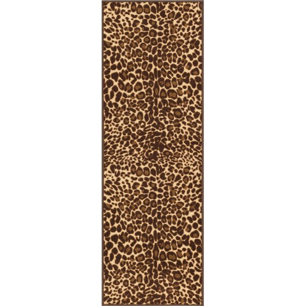 Kings Court Gold Leopard Print Area Rug by Well Woven