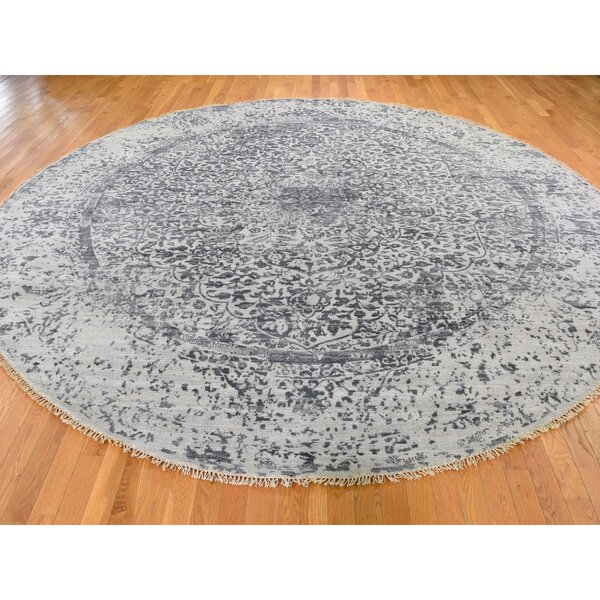 One-of-a-Kind Kevin Hand-Knotted Gray 11'10 Round Area Rug