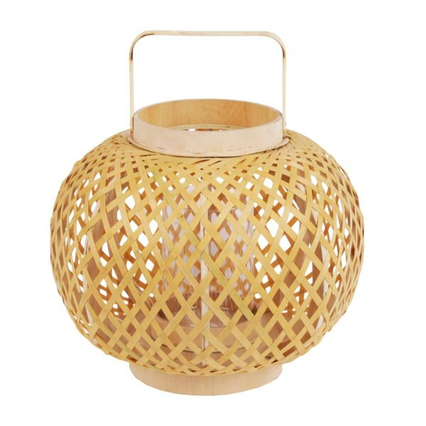 Bamboo Round Bellied Wood Lantern by Bay Isle Home
