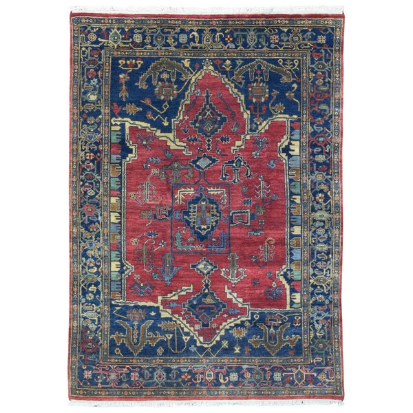 One-of-a-Kind Monaghan Oriental Hand-Knotted Wool Red/Blue Area Rug by Bloomsbury Market