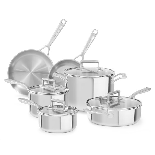 10 Piece Tri Ply Stainless Steel Cookware Set by KitchenAid