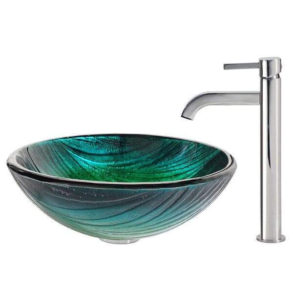 Nei Glass Circular Vessel Bathroom Sink with Faucet