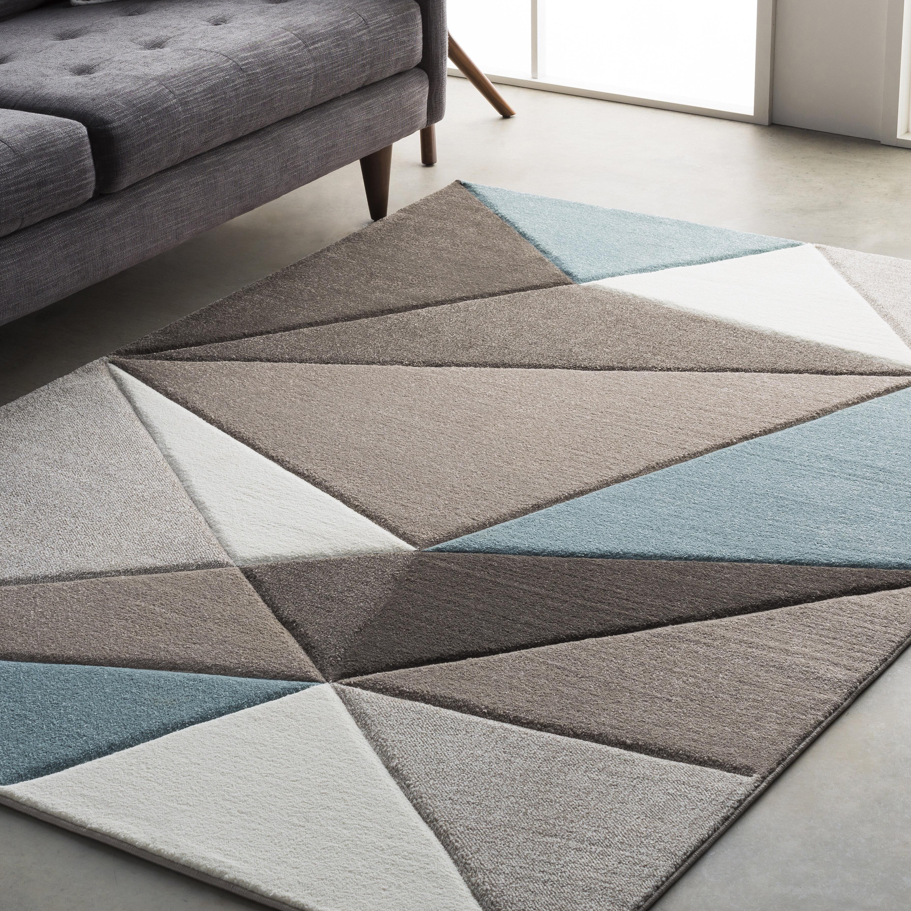 Mott Street Modern Geometric Carved Teal Gray Area Rug Reviews Allmodern