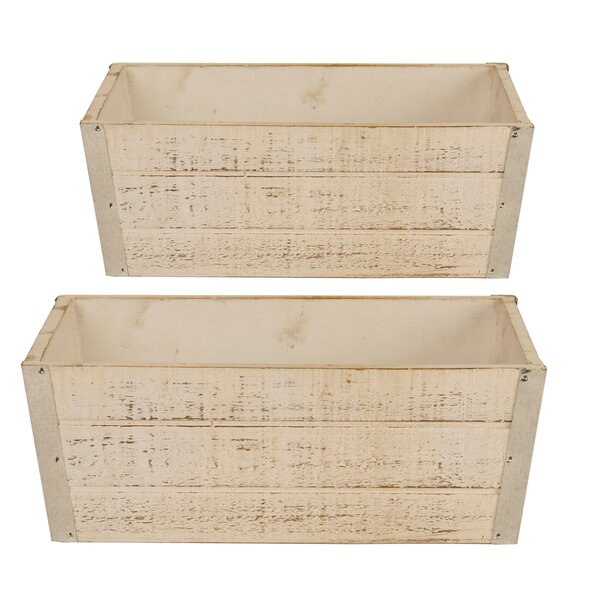 2-Piece Wood Planter Box Set by WaldImports