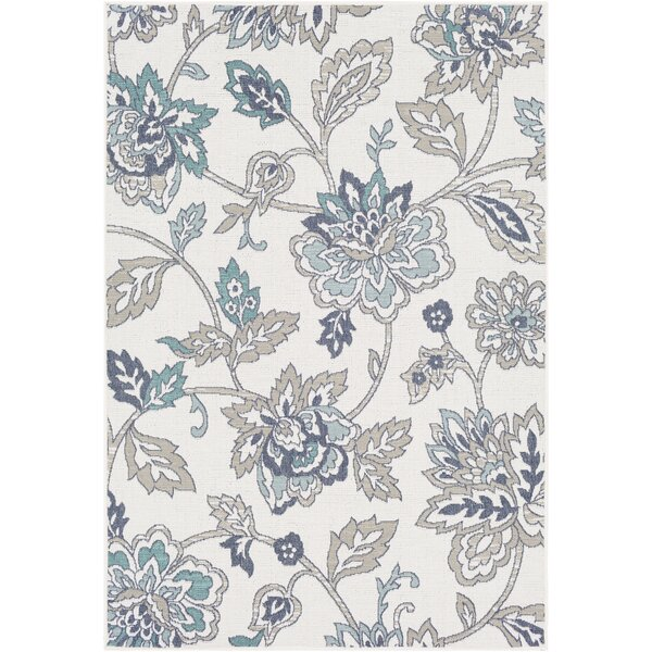 Pearce Floral Aqua/Taupe Indoor/Outdoor Area Rug by Charlton Home