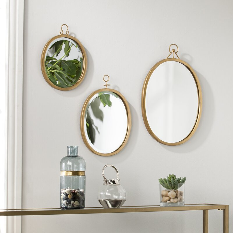3 Piece Oval Metal Frame Mirror Set