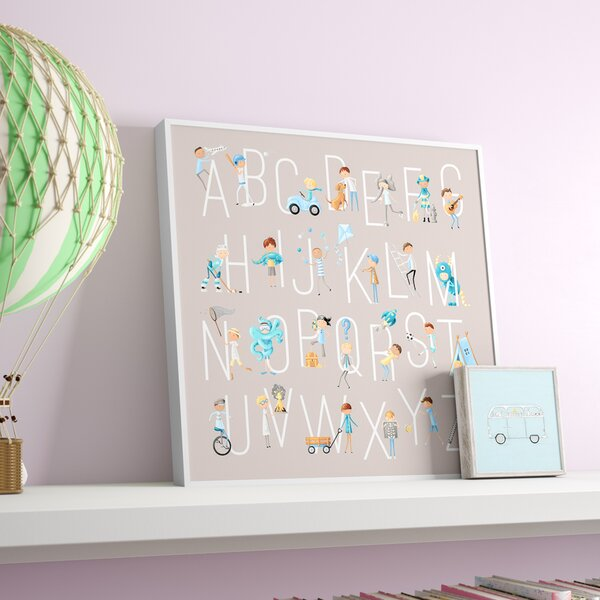 Sweetwater B is for Boys Embellished Stretched Framed Canvas Art by Harriet Bee